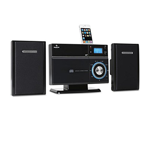 Auna VM192i Design iPhone-iPod-Docking-Station MP3-CD-Player (USB-SD-Slot,Radiowecker,Aux-In) Wandmontage schwarz - Iphone-dock Mit Cd-player