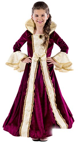 Fun Shack Kids Deluxe Princess Costume Girls Burgundy Royal Gown Queen Dress Outfit