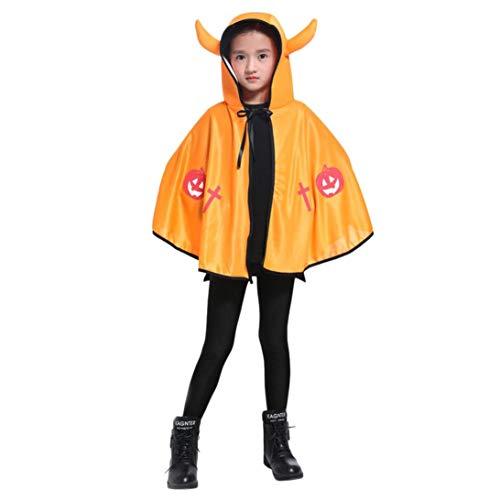 OdeJoy 73 cm Kind Dreidimensional Ochse Horn Dämon Zauber Mantel Halloween Mantel Performance Kleidung mit Kapuze Kap Robe Unisex Satin Gedruckte Langeärmel Set (Gelb,1 PC)