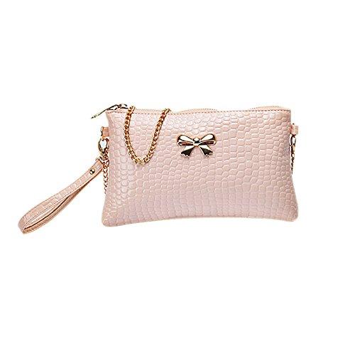 Hrph Neue Frauen-Kette PU-Umhängetasche Krokodil Bogen-Dekoration Clutch Tasche Taschen Pink