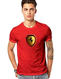Luxury Sports Car Printed T Shirt - Men's Luxury Sports Car Logo Round Neck T Shirt - Red