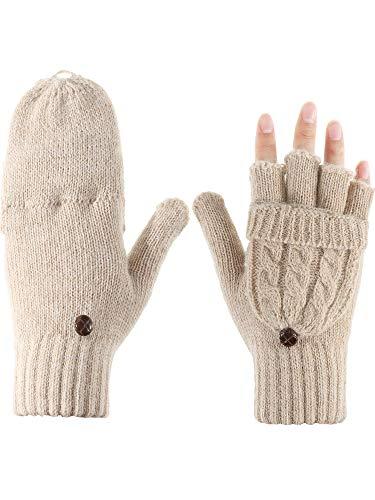 Preisvergleich Produktbild Tatuo Damen Cabrio Handschuh Zopf Handschuh Halb Fingerfäustling mit Deckel für Kalte Tage (Aprikose)