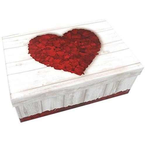 Geschenkbox ~ Herz aus Rosen-Blüten/Holz-Muster Weiß Beige ~ 26x18x9,5cm ~ 51892 ~ Kiste Box aus Pappe