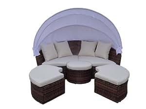 XXXL mobilier de jardin en poly-rotin chaise longue
