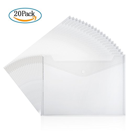 ZWOOS Cartelline Trasparenti A4 Cartellina Portadocumenti Cartelle Plastica con Bottone per Documento Storage (20 pz)