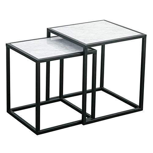 ZHIRONG Geschachtelter Tisch, Weißer Marmor Side End Akzent Tisch, Sofa Beistelltisch, Möbel Dekor Für Wohnzimmer Balkon Und Büro, 2 Stück - Akzent-dekor-tisch-lampe