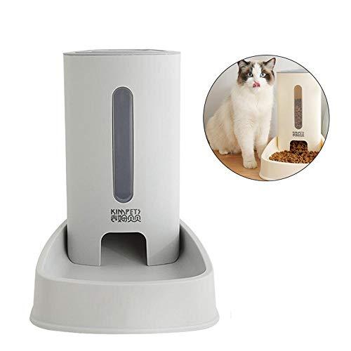 Ceepko Dispensador Automático De Alimentos Y Agua para Mascotas Y Gatos 2019 New Upgrade Pet Premium, Seguro para Alimentos, Extra Grande (3.8 litros) (Gris, Comida)