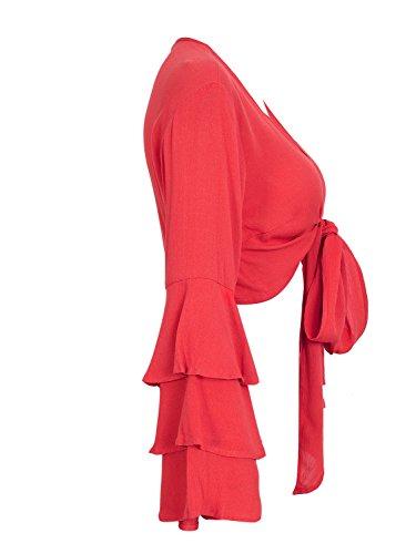 Simplee Apparel Maglia a manica lunga - Donna Red