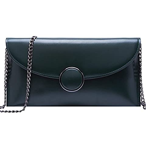 BOYATU Genuine Leather Wallet for Women Chain Strap Shoulder Purse Fashion Ladies Clutch Bag(Green)