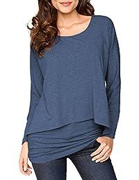 Uniquestyle 2 in 1 Optik Langarmshirt Damen Langarm Longshirt Casual Rundhals Tunika Top Shirt