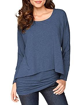 Jusfitsu Mujer Camiseta Mango Largo Blusa Cuello 2 in 1 Shirt Top