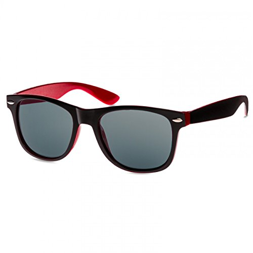 CASPAR - Lunettes de soleil WAYFARER UNISEXES - plusieurs coloris - SG030 Noir / rouge