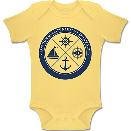 Shirtracer Up to Date Baby - Premium Quality Nautical Collection Sailing - 6-12 Monate - Hellgelb - BZ10 - Baby Body Kurzarm Jungen Mädchen