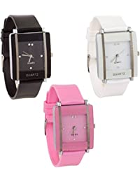 R M CREATION Analog Sqaure Design And Stylist Pink , Black And White Wrist Watch For Girls And Womens Pack 3