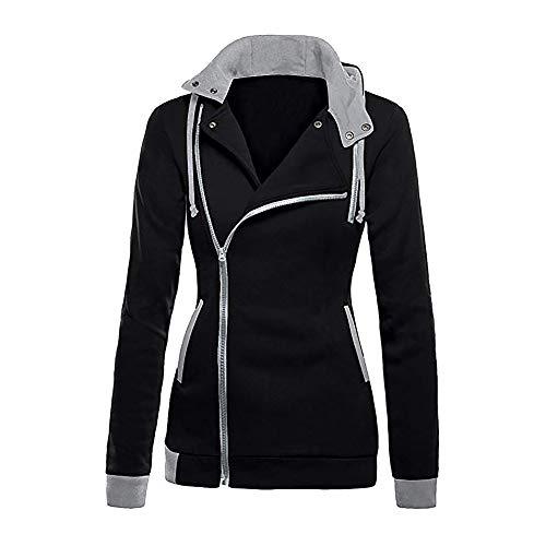 NPRADLA 2018 Herbst Winter Damen Sweatshirt Patchwork Mit Kapuze Oblique Reißverschluss Slim Fit...