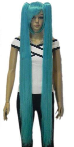 QIYUN.Z Haarteile Damen Perücken Vocaloid Hatsune Miku 2 Clip-On- Pferdeschwanz Lange Gerade Cosplay Anime Kostüm Kunsthaar Volle Perücke - Hellblau