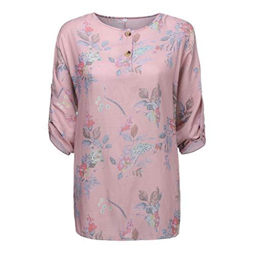 mounter- Damen-Blusen-Top, Lose, Blumenmuster, Rundhalsausschnitt, 3-Viertelärmel-Hemden, Strand-Sweatshirts, Übergröße, Tunika, Sommerkleidung Gr. 38, Rose -