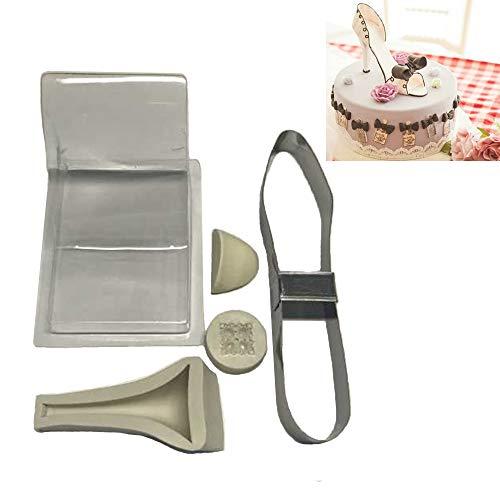 Uniqstore - Kit de Zapatos de tacón Alto para Fondant, Molde de Silicona para decoración de Tartas, tamaño Grande