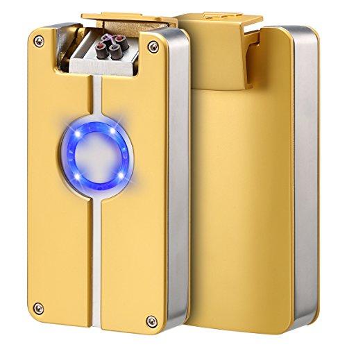USB elektronisches Feuerzeug Dual Lichtbogen Sturmfeuerzeug Zigarettenanzünder ohne Flamme Aufladbar umweltfreundlich Winddicht von QIMAOO Gold (Klassische Elektrische Reichweite)