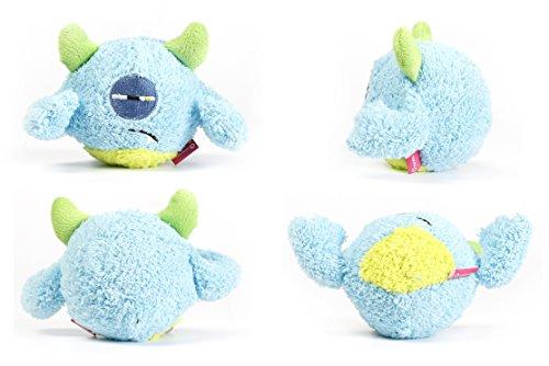 Toypalace24 Quietschball für Hunde im lustigen Monster-Hundeball-Design/Weiches Wurfspielzeug zum apportieren für große & kleine Hunde/Farbe: Blau 2 / Größe nach Wahl -