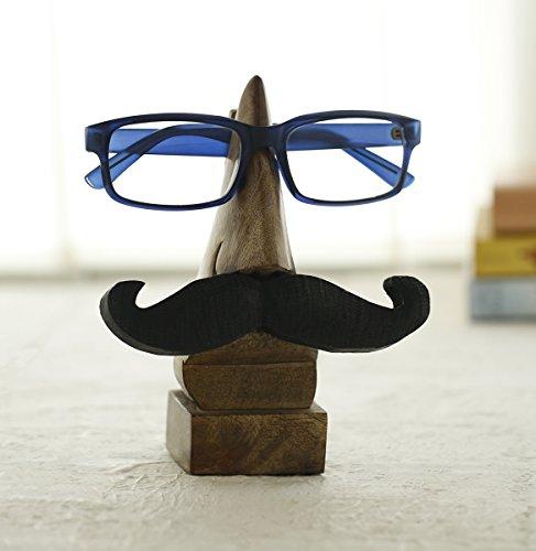"""Weihnachtsgeschenke, Handgefertigte Holz Brillenhalter Brillengestell Brillenstander Nase Schnurrbart (72 """") Mit Free Bookmark - Nussbaum Finish"""