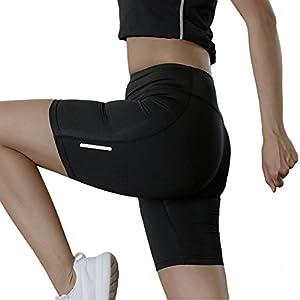 MeOkey Damen Schnell Trocknende Fitness Yogahose Trainieren Sporthose in Schwarz
