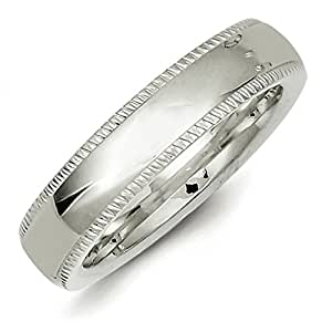 Sterling Silver 5mm Millgrain Comfort Fit Band Ring - Size H
