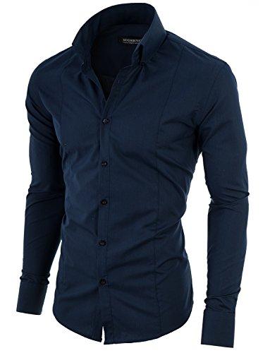 Herren Hemd Slim Fit Business Langarmhemd von MODERNO (MSSF501) Marine EU M