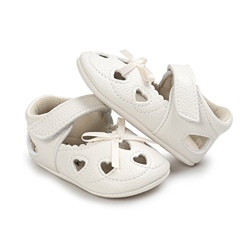 2 Paia Scarpe per bambini Auxma Bowknot scarpe di cuoio ragazza scivolare morbide pantofole bambino Scarpe Primi Passi 0-18 Mesi Cachi+Arancione