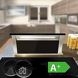 Table Hotte Aspirante (60cm, inox, verre noir, extra silencieux, éclairage LED, 10 étapes, touches à détecteur TouchSelect, suivi automatique) DRAFT600 - KKT KOLBE