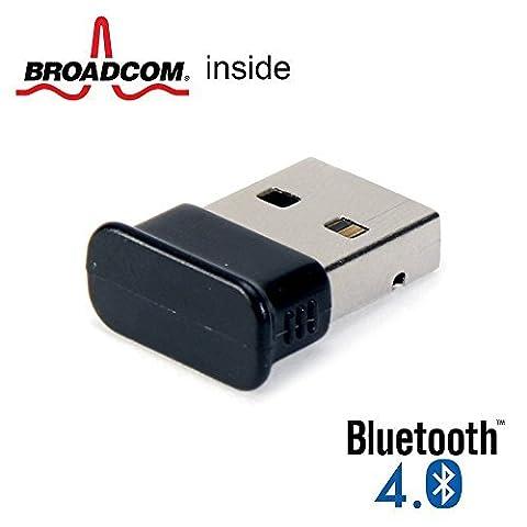 Bluetooth Adapter Dongle, GMYLE® Ultra-Mini USB Broadcom BCM20702 Class 2 Bluetooth V4.0 Dual Mode Dongle Wireless Adapter with LED