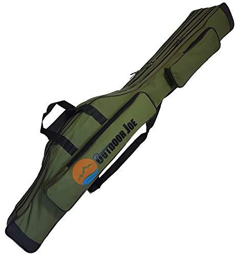 OutdoorJoe Angelrutentasche mit 3 Innenfächern für Angelruten, Kescher und Rutenhalter 150 cm