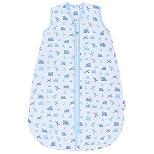 Snoozebag – Saco de Dormir para bebé, diseño de Aviones y Trenes, 100% algodón, 1,0 TOG, Unisex, Multicolor Azul Azul Talla:3-6 años