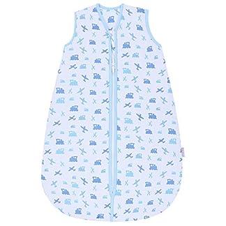 Saco de dormir azul de Snoozebag con diseño de aviones y trenes, 100% algodón, 2,5tog