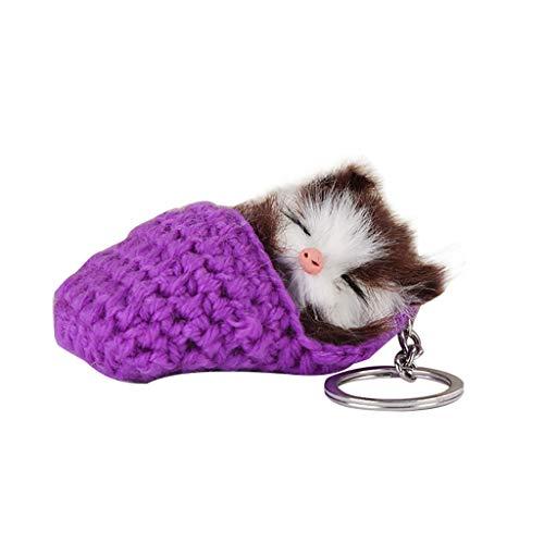 friendGG_Armbanduhren Cute Temperament Schlaf Kitten Hair Ball Schlüsselanhänger Wollhausschuhe Katze Anhänger Schlaf Keychain Wolle Weiblichen Beutel Hängen, Woll + Plüsch, 5X9Cm