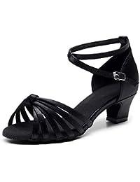 HUYUQU Satén De Las Señoras Sandalias De Tacones Altos De Rendimiento Salón De Baile Zapatos De Baile Latino - Suave y Cómodo Único Estándar Chacha Tango Zapatos De Baile