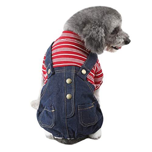 Geilisungren Ropa para Mascotas Perros pequeños, Verano Camiseta Chaleco, Pantalones Vaqueros para Cachorros, Perros pequeños y medianos, Rayas Ropa para Perros, Ropa Primavera Verano para Gatos