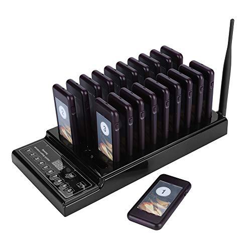 VBESTLIFE Pager-System, Wireless 999 Channel Queue Gastanruf Paging-Summer-System mit Tastatur-Ladestation und 20 Piece-Empfängern Pagers für Restaurant, 1 km Reichweite(Schwarz)
