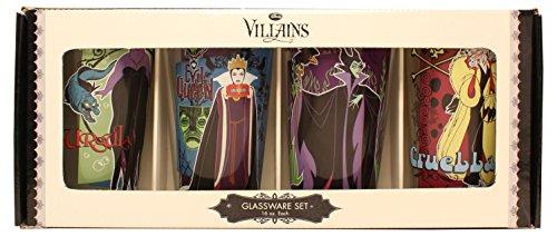 P1 Disney Villains Clear Pint Glass Set, 4 pc set, 16 oz, Multicolor by Disney (Böse Königin Disney)