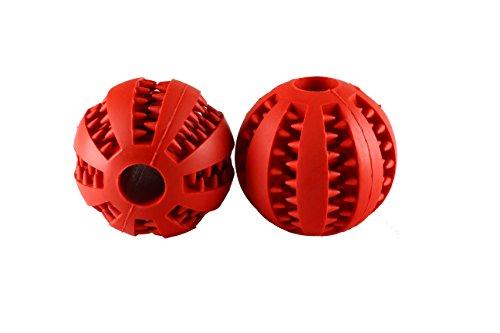 Hundespielzeug Ball mit Noppen DOPPELPACK 2 Stück rot oder rose aus Naturkautschuck Spielzeug für Hunde ø 7cm mit Dental-Zahnpflege-Funktion aus Naturkautschuk, mit Noppen und Loch für Leckerli (Rot) (Hund-ball Rote)