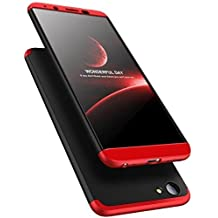 Vivo Y53 Front Back Case Cover Full Body 3-in-1 Slim Fit Complete 3D 360 Degree Protection Hybrid Hard Bumper (Black Red)