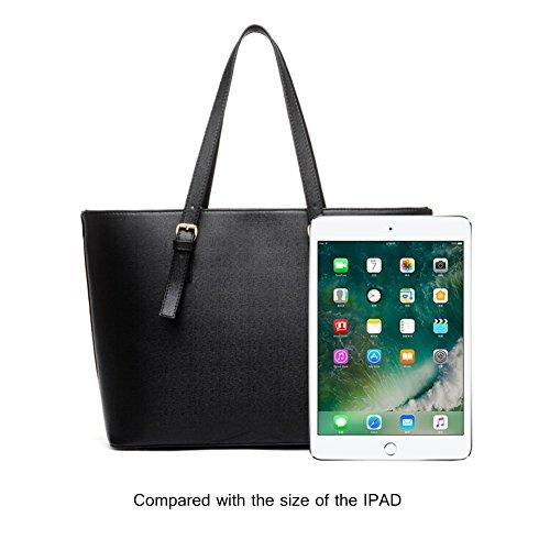 Tote Bag Luxury Hobo Tote Bag - Borsa da donna con 3 pezzi Tote Bag in pelle Pu Nero
