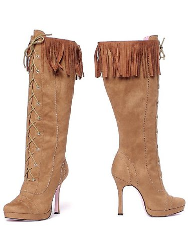 Preisvergleich Produktbild Leg Avenue 5020 - Cheyenne 4.5 Zoll Microfiber Kniehohe Stiefel, Größe 8, braun