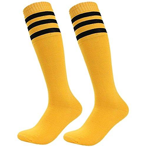 Calcetines deportivos Da Wa Fashion con rayas, calcetines por la rodilla, para mujeres y hombres, amarillo