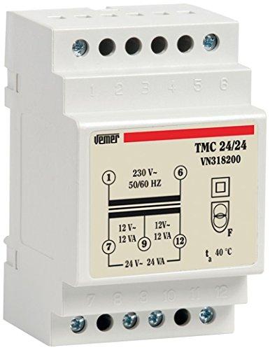 Vemer vn318200Trafo TMC 24/24mit Hutschiene für Service kontinuierliche 230V/12–24V, hellgrau