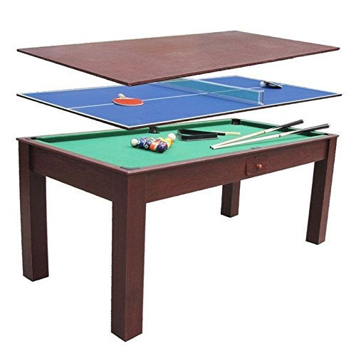 Preisvergleich Produktbild 3-in-1 Billiardtisch,  Esstisch,  Tischtennistisch,  1, 84 x 91 cm