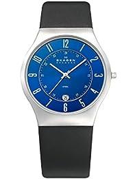 Skagen 233XXLSLN - Reloj analógico de caballero de cuarzo con correa de piel negra