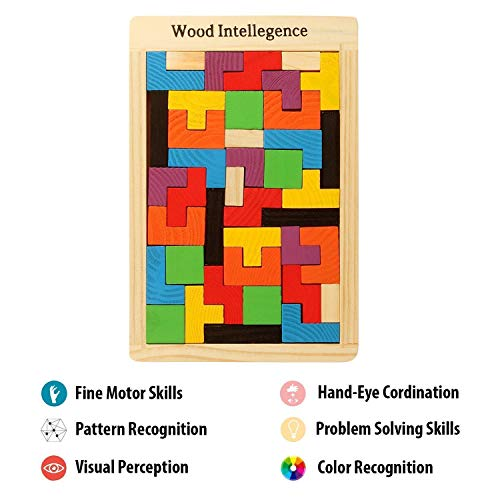 WP Wooden Tetris Puzzles for Kids, Wood Intelligence Brain Games Building Blocks 40 Pcs Tangram Jigsaw Teasers Educational Toy, Childrens Puzzle Board Game for Ages 3 + Boys Girls