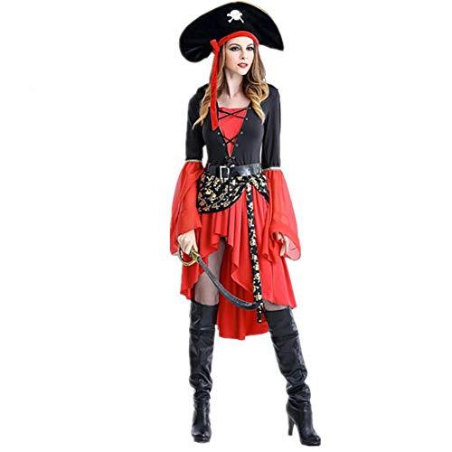 XIONGDA Halloween Cosplay Kostüm für Frauen Piraten Kostüm Sexy Mittelalter Uniform Versuchung Kostüm Halloween Maskerade Kostüm Leistung Kostüm (Home Piraten Kostüm Frauen)