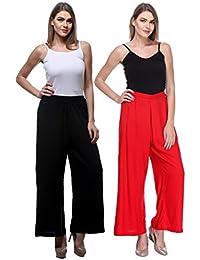 Fashion Store Women's Combo Plazo Of 2 (Black & Red ,Free Size)